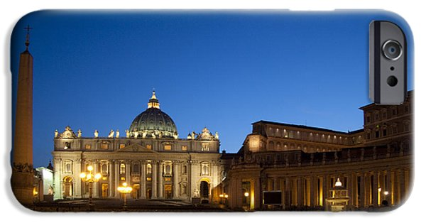 Historic Site iPhone Cases - St. Peters Basilica at Night iPhone Case by David Smith