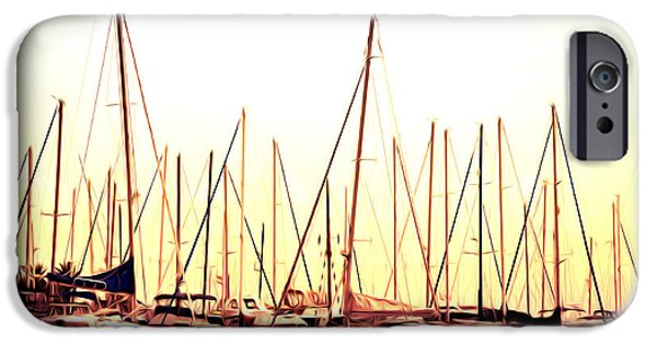 Sailboats Docked iPhone Cases - St. Petersburg in the Morning iPhone Case by Bill Cannon