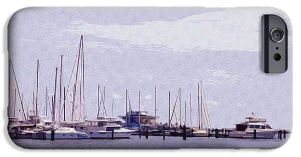 Sailboats Docked iPhone Cases - St. Petersburg Marina iPhone Case by Bill Cannon