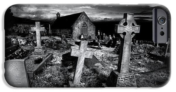 Headstones iPhone Cases - St Tudnos Church iPhone Case by Mal Bray