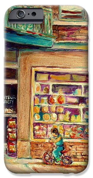 Montreal Storefronts Paintings iPhone Cases - St Viateur Street Montreal  iPhone Case by Carole Spandau