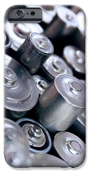 Element Photographs iPhone Cases - Stack Of Batteries iPhone Case by Carlos Caetano