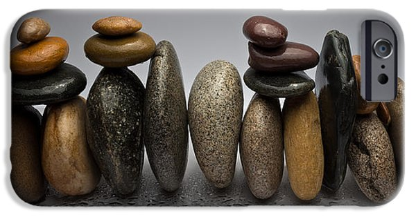 Pebbles iPhone Cases - Stacked River Stones iPhone Case by Steve Gadomski