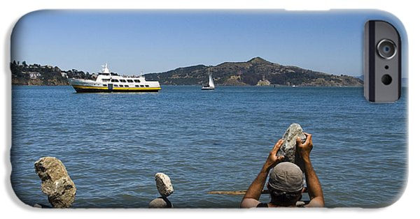 Sausalito Ca iPhone Cases - Stacking Rocks and Ferry iPhone Case by Tim Mulina