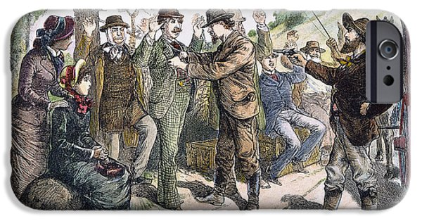 1880s iPhone Cases - STAGECOACH ROBBERY, 1880s iPhone Case by Granger