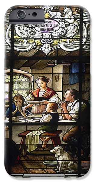 Stained Glass Family Giving Thanks iPhone Case by Sally Weigand