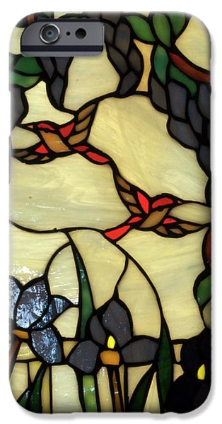 Stained Glass Humming Bird Vertical Window iPhone Case by Thomas Woolworth