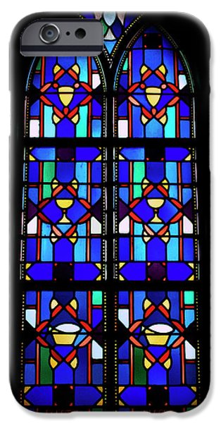 Building Glass iPhone Cases - Stained Glass Window Blue iPhone Case by Thomas Woolworth