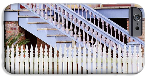 Restored Plantation iPhone Cases - Stairs And White Picket Fence iPhone Case by Jeremy Woodhouse
