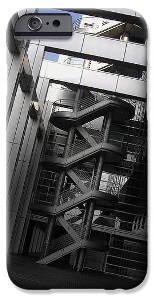 Downtown Stairs iPhone Cases - Stairs Fuji Building iPhone Case by Naxart Studio