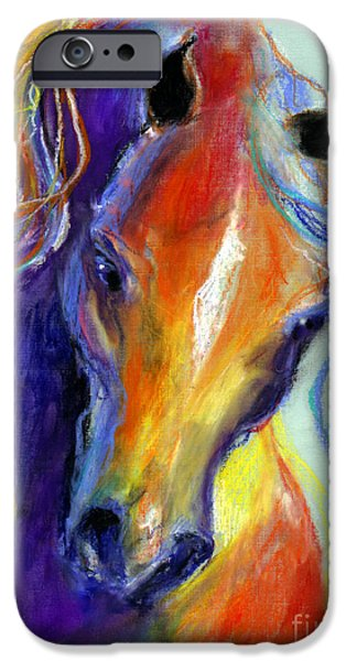 Stallion iPhone Cases - Stallion Horse painting iPhone Case by Svetlana Novikova