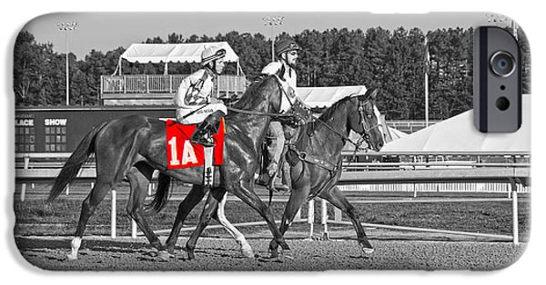 Horse Racing iPhone Cases - Standing Out iPhone Case by Betsy A  Cutler