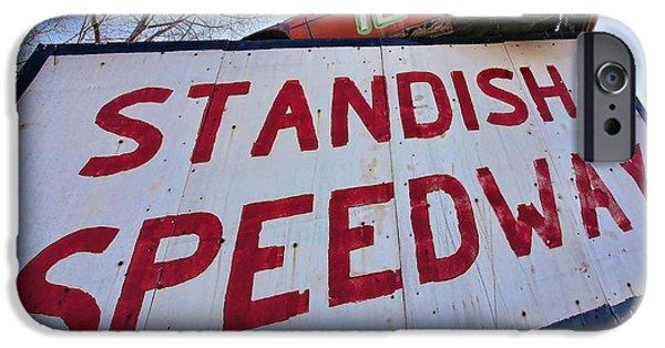 Racetrack Digital Art iPhone Cases - Standish Speedway iPhone Case by Gordon Dean II