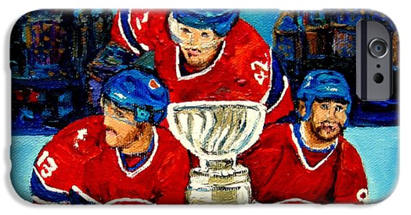 Canada Sports Paintings iPhone Cases - Stanley Cup Win In Sight Playoffs   2010 iPhone Case by Carole Spandau