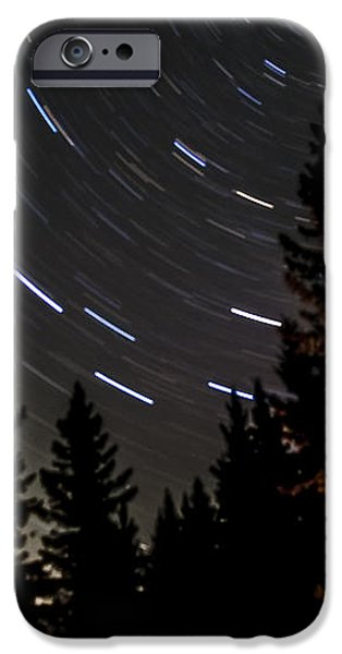Star Trails Above Spruce Tree Line iPhone Case by Darcy Michaelchuk