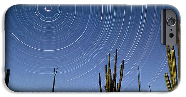 Stellar iPhone Cases - Star Trails Over Cacti iPhone Case by David Nunuk