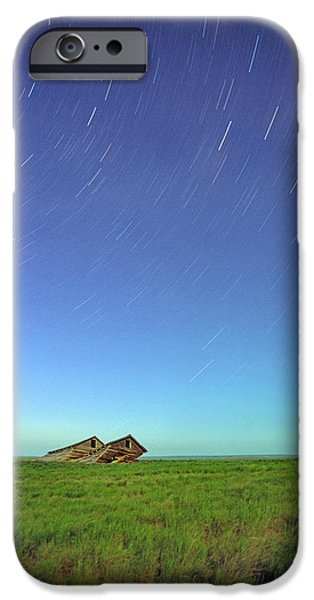 Star Trails Over Old Barns, Saskatchewan iPhone Case by Robert Postma
