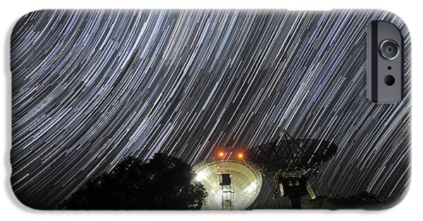 Moonlit Night Photographs iPhone Cases - Star Trails Over Parkes Observatory iPhone Case by Alex Cherney, Terrastro.com