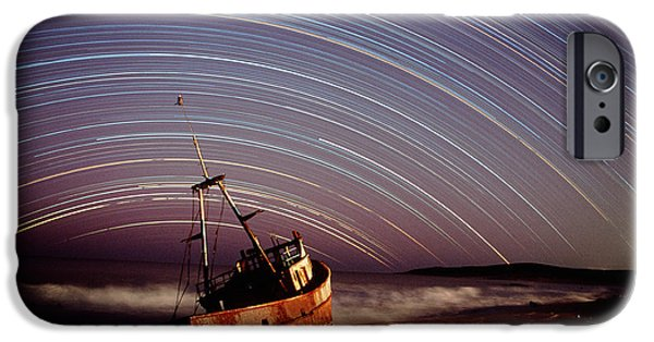 Stellar iPhone Cases - Star Trails Over Rusted Boat Wreck iPhone Case by David Nunuk