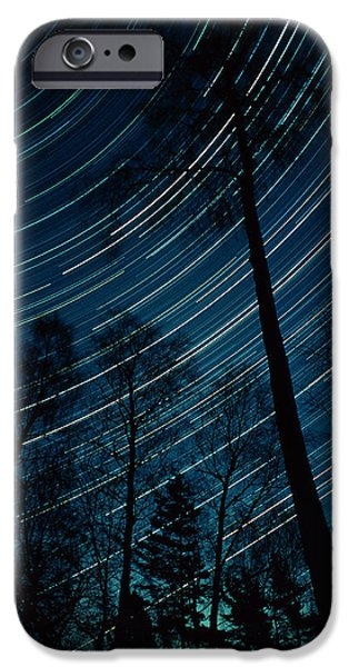 Stellar iPhone Cases - Star Trails Through Trees iPhone Case by Pekka Parviainen