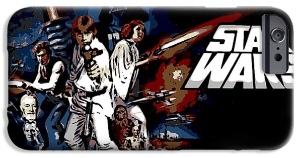 Fictional Star iPhone Cases - Star Wars Movie Poster iPhone Case by George Pedro