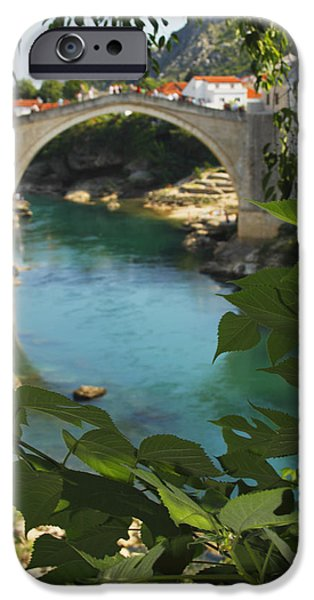 Staris iPhone Cases - Stari Most Or Old Town Bridge Over The iPhone Case by Trish Punch