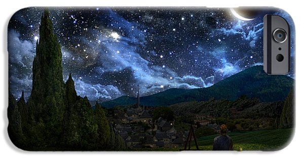 Evening Digital Art iPhone Cases - Starry Night iPhone Case by Alex Ruiz