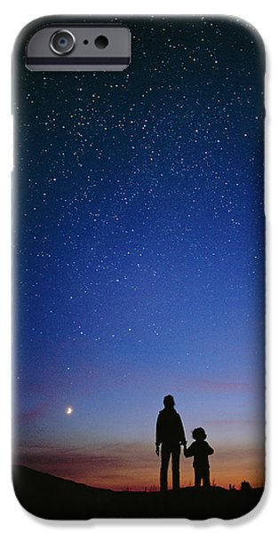 Stargazing iPhone Cases - Starry Sky And Stargazers iPhone Case by David Nunuk