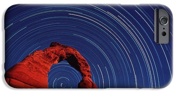 Stellar iPhone Cases - Stars Trails & Delicate Arch iPhone Case by David Nunuk