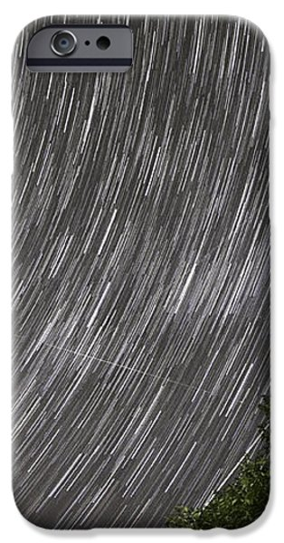 Startrails above tree iPhone Case by Cristian Mihaila