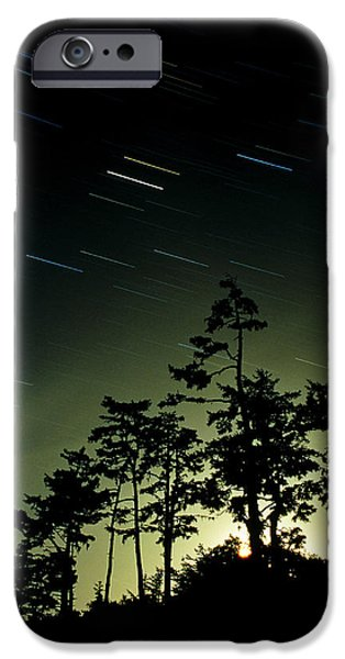 Startrails And Moonlit Fog, Canada iPhone Case by David Nunuk