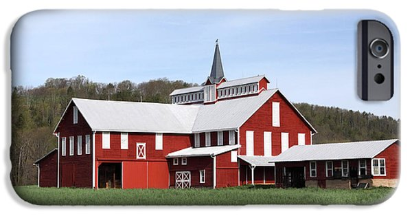 Weathervane Photographs iPhone Cases - Stately Red Barn With Elongated Clerestory Cupola iPhone Case by John Stephens