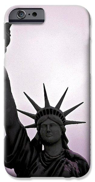 Goddess Of Liberty iPhone Cases - Statue of Liberty Purple Sunset iPhone Case by LeeAnn McLaneGoetz McLaneGoetzStudioLLCcom