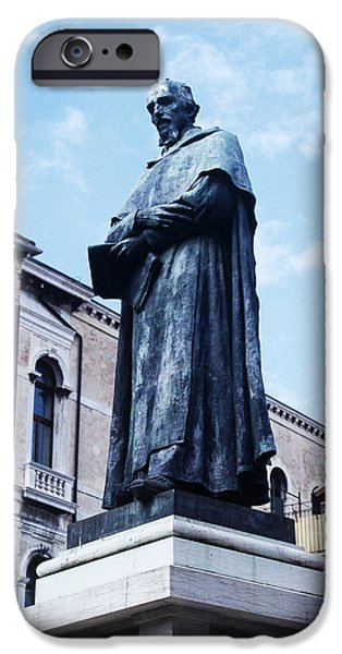 Statue Portrait iPhone Cases - Statue Of Paolo Sarpi, Venetian Scientist iPhone Case by Sheila Terry