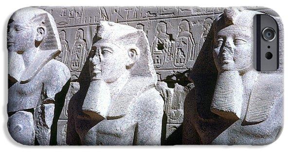 Statue Portrait iPhone Cases - Statues Of Ramses Ii iPhone Case by Granger