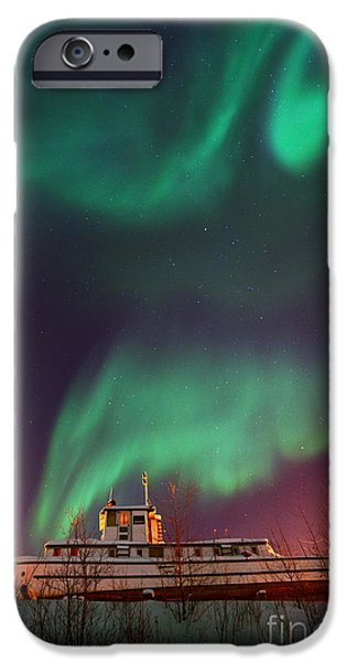 Aurora iPhone Cases - Steamboat Under Northern Lights iPhone Case by Priska Wettstein