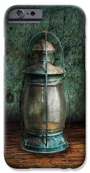 Hurricane Lamp iPhone Cases - Steampunk - An old lantern iPhone Case by Mike Savad