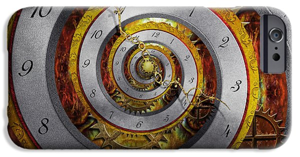 Steampunk - iPhone Cases - Steampunk - Spiral - Infinite time iPhone Case by Mike Savad