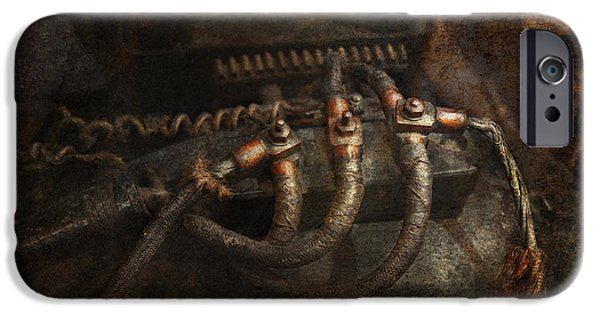 Mechanism iPhone Cases - Steampunk - Electrical - Frayed Connections iPhone Case by Mike Savad