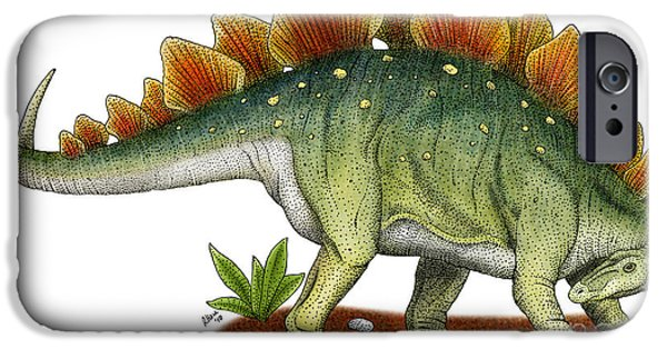 Fauna Drawings iPhone Cases - Stegosaurus iPhone Case by Roger Hall and Photo Researchers
