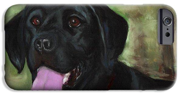 Black Dog iPhone Cases - Stella Luna iPhone Case by Frances Marino