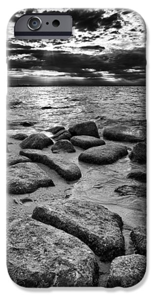 Drama iPhone Cases - Stepping Stones on Great South Bay iPhone Case by Rick Berk