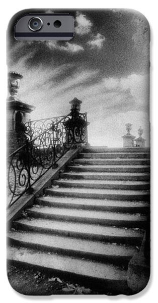 Strange iPhone Cases - Steps at Chateau Vieux iPhone Case by Simon Marsden