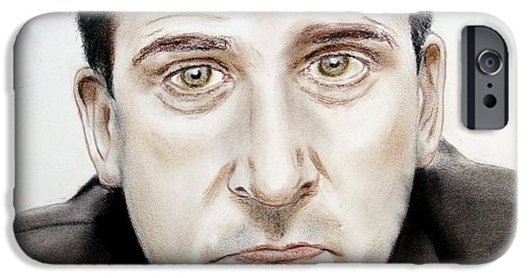 Michael Pastels iPhone Cases - Steve Carell as Michael Scott in The Office iPhone Case by Jim Fitzpatrick