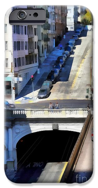 Stockton iPhone Cases - Stockton Street Tunnel in Hilly San Francisco . 7D7499 iPhone Case by Wingsdomain Art and Photography