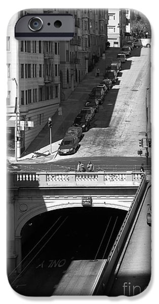 Stockton Street Tunnel Midday Late Summer in San Francisco . Black and White Photograph 7D7499 iPhone Case by Wingsdomain Art and Photography