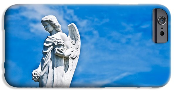 Cemetary iPhone Cases - Stone Angel and Blue Sky III iPhone Case by Ray Laskowitz
