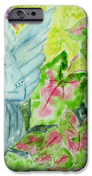 Stone Angel and Caladiums iPhone Case by Melanie Palmer