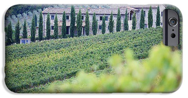 Chianti Landscape iPhone Cases - Stone Farmhouse and Vineyard iPhone Case by Jeremy Woodhouse