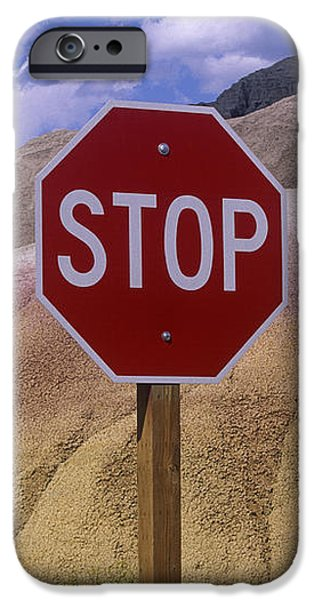 Stop Sign in South Dakota Badlands iPhone Case by Will & Deni McIntyre